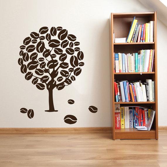 Coffee Wall Decals Tree Decal Kitchen Decor Floral Design Interior Dorm Design Living Room Sticker Decal & Shop Coffee Wall Decals Tree Decal Kitchen Decor Floral Design ...