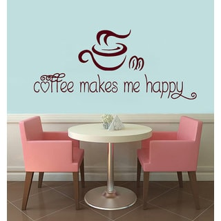 Quote Coffee Makes Me Happy Kitchen Decor Interior Design Mural Decal Cafe Decor Sticker Decal size 22x35 Color Brown