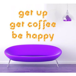 Coffee Wall Decals Get Up Get Coffee Be Happy Quote Cafe Design Kitchen Decor Interior Sticker Decal size 48x65 Color Black