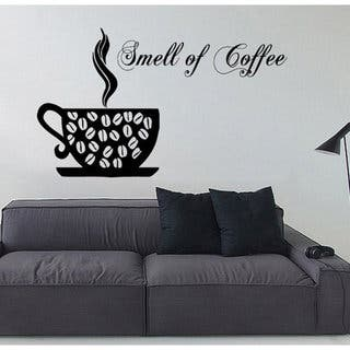 Shop Coffee Aroma Wall Decals Smell Of Coffee Words Cafe Kitchen Wall Decor Vinyl Art Wall Decor Sticker Decal Size 22x30 Color Black Overstock 14317128