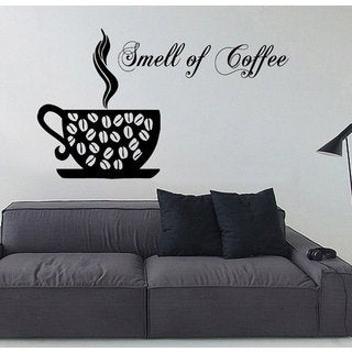 Coffee Aroma Wall Decals Smell Of Coffee Words Cafe Kitchen Wall Decor Vinyl Art Wall Decor Sticker