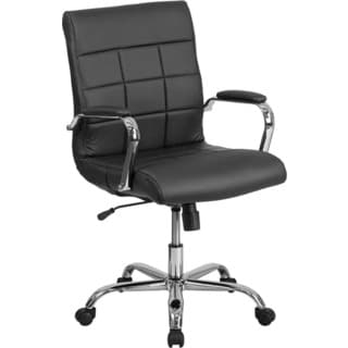 Offex Mid-back Black Vinyl and Chrome Executive Swivel Office Chair