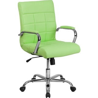 Offex Mid-back Green Vinyl and Chrome Executive Swivel Office Chair