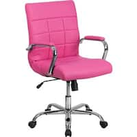 Offex Mid-Back Pink Vinyl and Chrome Executive Swivel Office Chair
