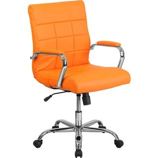 Offex Mid-back Orange Vinyl and Chrome Executive Swivel Office Chair