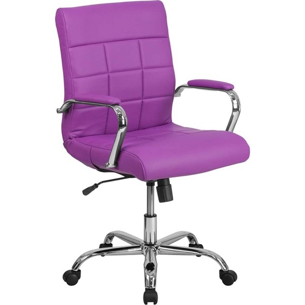 Offex Mid Back Purple Vinyl And Chrome Executive Swivel Office Chair
