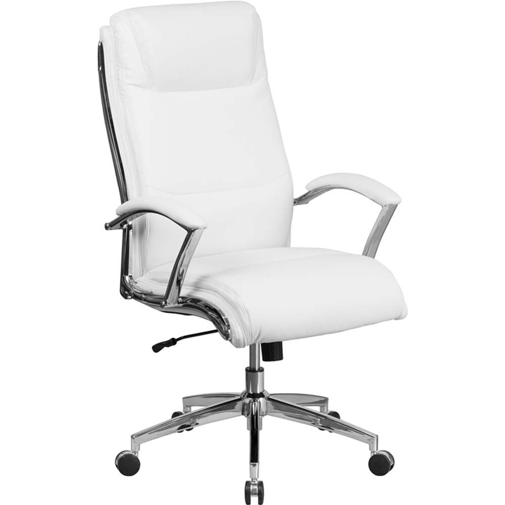 Offex High-back Designer White LeatherSoft and Chrome Contoured Executive Swivel Office Chair (Chair)