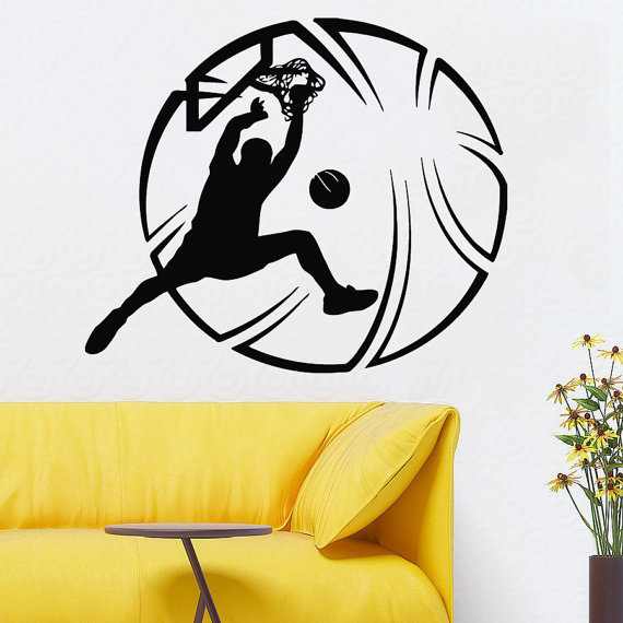 Basketball Wall Decals Basketball Player Gym Wall Decor Sport Home Art  Mural Wall Decor Sticker Decal