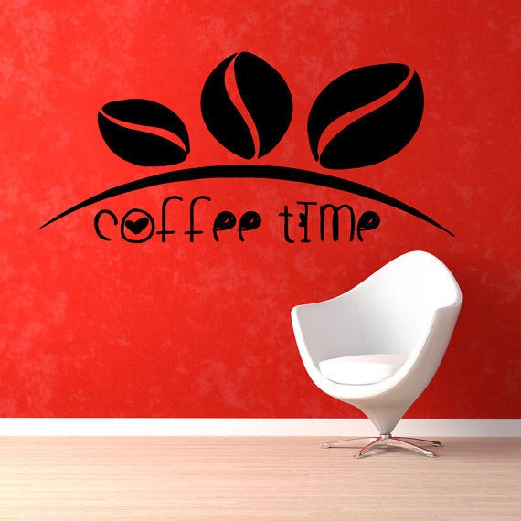 Shop Coffee Beans Wall Decals Coffee Time Words Cafe Kitchen Wall