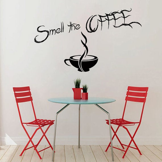 Coffee wall decals wall quotes smell the coffee wall words cafe kitchen home vinyl decor sticker