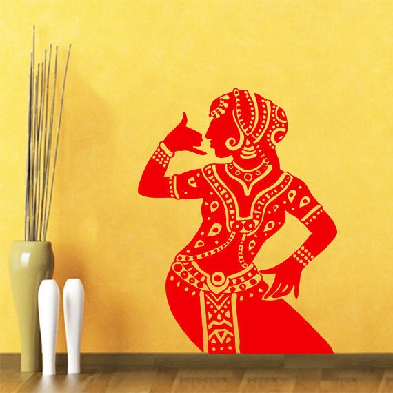 Indian Woman Wall Decal Belly Dance Girl Dancer Gym Wall Vinyl ...