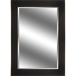 Reflection Dark Bronze Wood Grain Color Frame 31-inch x 43-inch x 3.75-inch with 1-inch Bevel Mirror