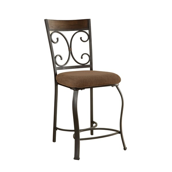 Acme Furniture Hakesa Counter Height Chair(Set of 2), Cherry & Antique Black