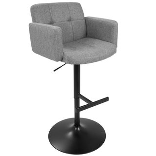 Link to Strick & Bolton Lambert Grey Fabric and Black Metal Adjustable Bar Stool Similar Items in Accent Chairs