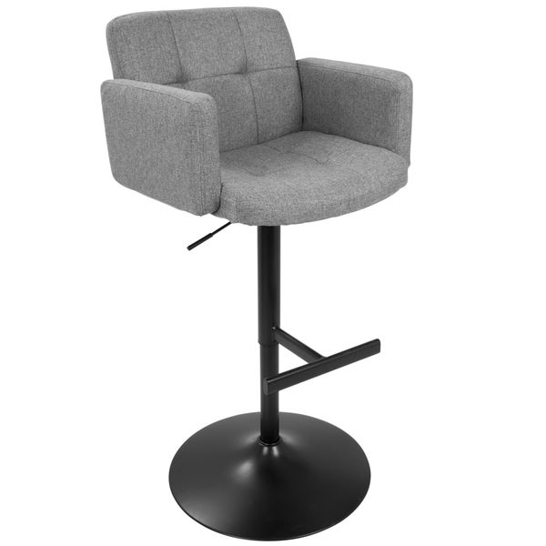 Strick & Bolton Lambert Grey Fabric and Black Metal Adjustable Bar Stool. Opens flyout.