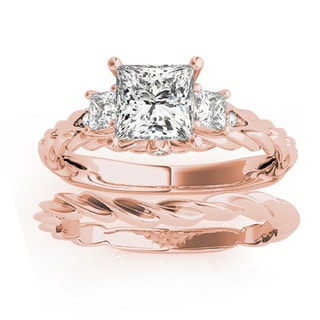 Transcendent Brilliance 14k Rose Gold 1 1/4ct TDW Princess-Cut Certified Diamond 3-Stone Bridal Set (G, VS2)
