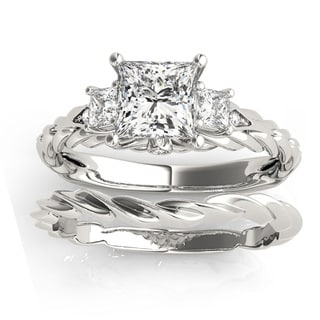 Transcendent Brilliance 14K Gold 1 1/10ct TDW Princess-Cut Diamond 3-Stone Bridal Set (G, VS2)