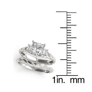 Transcendent Brilliance 14k Gold 1 7/8ct TDW Princess-Cut Diamond 3-Stone Bridal Ring Set (G, VS2)