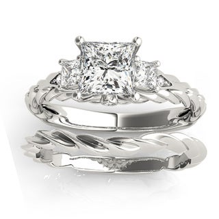 Transcendent Brilliance 14k Gold 1 1/2ct TDW Princess-Cut Diamond 3-Stone Bridal Ring Set (G, VS2)