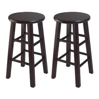 Set of 2, 24-inch Counter Stool, Square Legs, Espresso