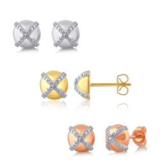 Silver Overlay and Goldtone Diamond Accent Cross Stud Earring.