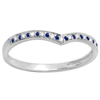 Elora 14k Gold 1/10 CT Round Real Blue Sapphire & Diamond Anniversary Guard Chevron Ring (Blue,I-J & Highly Included,I2-I3)