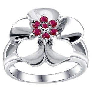 Orchid Jewelry 925 Sterling Silver 0.35 Carat Ruby Flower Design Ring