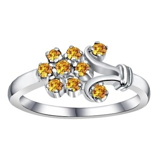 Orchid Jewelry 0.35 Carat Citrine 925 Sterling Silver Cluster Ring