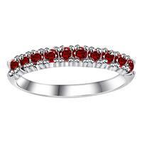 Orchid Jewelry 925 Sterling Silver 0.50 Carat Garnet Semi Eternity Ring