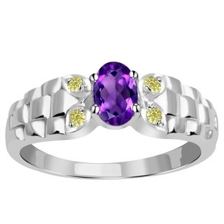 Orchid Jewelry Sterling Silver 0.51 Carat Amethyst & Diamond Accent Anniversary Ring