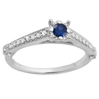 Elora 14k Gold 3/8 CT. Round Blue Sapphire & White Diamond Bridal Solitaire Engagement Ring (H-I,Blue & I1-I2,Highly Included)