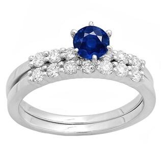 Elora 14k Gold Sapphire and 1/2ct TDW White Diamond Bridal Set (H-I, I1-I2)