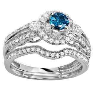 Elora 10k Gold Round 1 ct TDW Blue & White Diamond Engagement Ring Set 3/8 CT Center included (Blue & H-I, I2-I3 & I1-I2)
