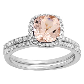 Elora 14k Gold 1 5/8 ct Cushion Cut Morganite & Round White Diamond Engagement Ring Set (H-I & Pink,I1-I2 & Moderately Included)
