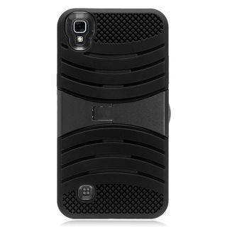 Insten Wave Symbiosis Soft Silicone/ PC Rubber Case Cover with Stand For LG X Power