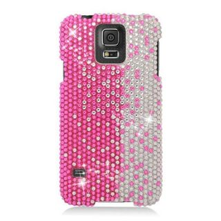Insten Pink/ Silver Hard Snap-on Rhinestone Bling Case Cover For Samsung Galaxy S5