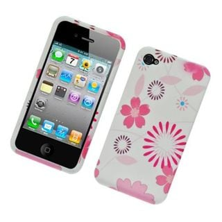 Insten White/ Pink Flowers Hard Snap-on Rubberized Matte Case Cover For Apple iPhone 4/ 4S