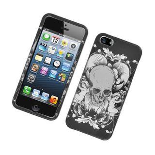 Insten Black/ White Skull Hard Snap-on Glossy Case Cover For Apple iPhone 5/ 5S