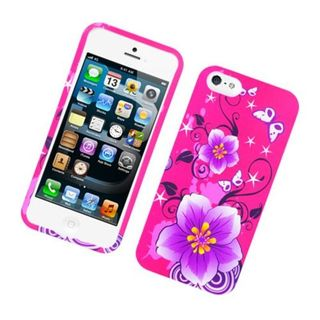 Insten Hot Pink/ Purple Flowers Hard Snap-on Rubberized Matte Case Cover For Apple iPhone 5/ 5S