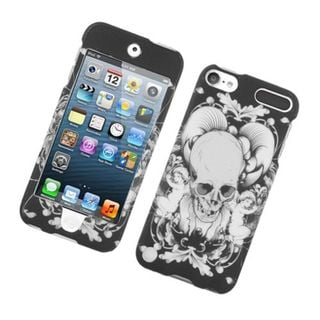 Insten Black/ White Skull Hard Snap-on Glossy Case Cover For Apple iPod Touch 5th Gen