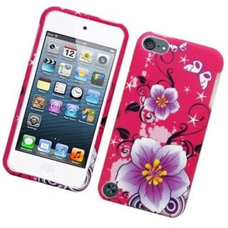 Insten Hot Pink/ Purple Flowers Hard Snap-on Rubberized Matte Case Cover For Apple iPod Touch 5th Gen