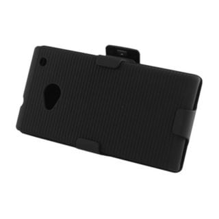 Insten Hard Snap-on Rubberized Matte Case Cover with Holster For HTC One M7