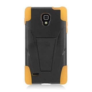 Insten Black/ Yellow Hard PC/ Silicone Dual Layer Hybrid Case Cover with Stand For LG Optimus L9 P769