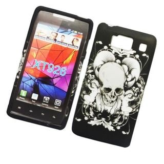 Insten Black/ White Skull Hard Snap-on Rubberized Matte Case Cover For Motorola Droid Razr HD