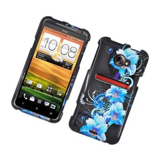 Insten Black/ Blue Flowers Hard Snap-on Glossy Case Cover For HTC EVO 4G LTE