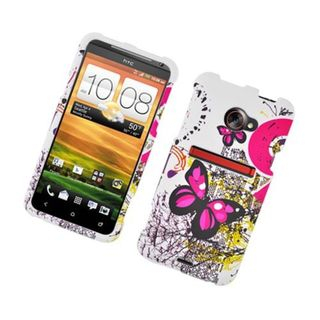 Insten White/ Pink Butterfly Hard Snap-on Rubberized Matte Case Cover For HTC EVO 4G LTE