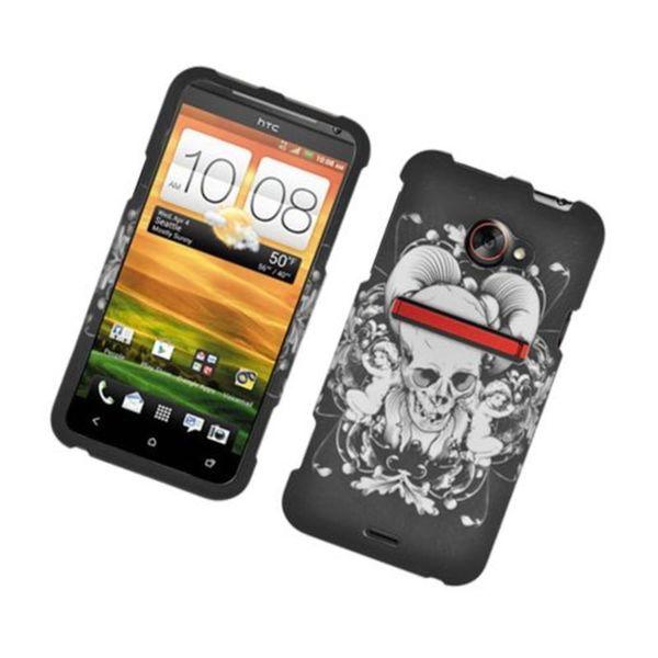 Insten Black/ White Skull Hard Snap-on Rubberized Matte Case Cover For HTC EVO 4G LTE