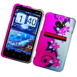 Insten Hot Pink/ Silver Vine Flower Hard Snap-on Rubberized Matte Case Cover For HTC EVO 4G LTE