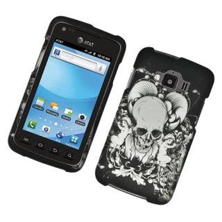 Insten Black/ White Skull Hard Snap-on Rubberized Matte Case Cover For Samsung Rugby Smart