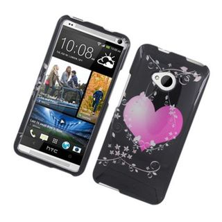 Insten Black/ Hot Pink Flowery Heart Hard Snap-on Glossy Case Cover For HTC One M7